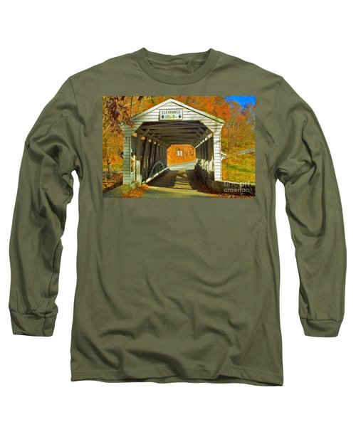 Long Sleeve T-Shirt featuring the photograph Covered Bridge Impasto Oil by David Zanzinger