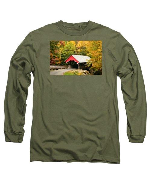 Covered Bridge In Autumn Long Sleeve T-Shirt