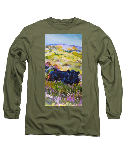 Cow Lying Down Among Plants Long Sleeve T-Shirt