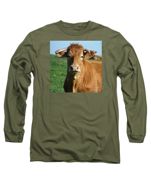 Cow Portrait Long Sleeve T-Shirt by Jean Bernard Roussilhe