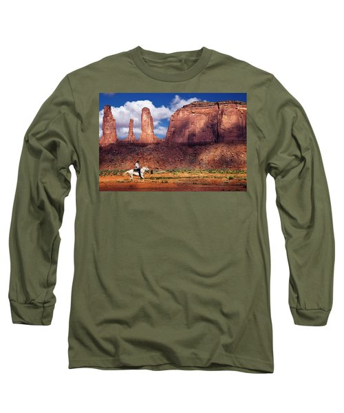 Long Sleeve T-Shirt featuring the photograph Cowboy And Three Sisters by William Lee
