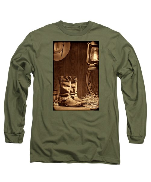 Cowboy Boots At The Ranch Long Sleeve T-Shirt by American West Legend By Olivier Le Queinec