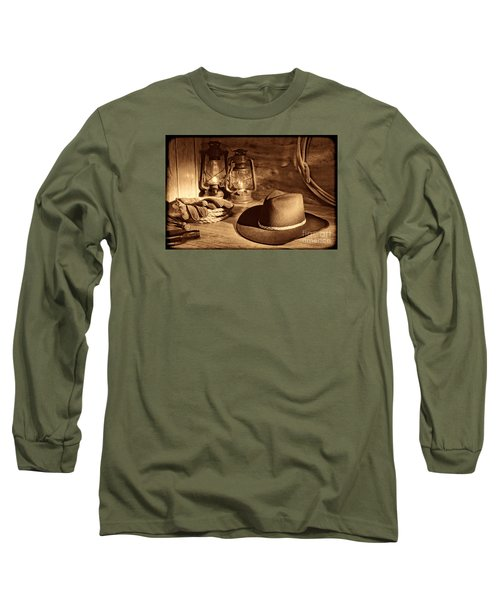 Cowboy Hat And Kerosene Lanterns Long Sleeve T-Shirt by American West Legend By Olivier Le Queinec