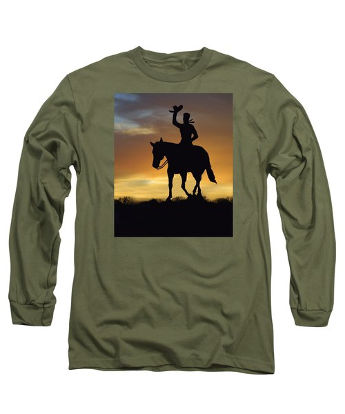 Cowboy Slilouette Long Sleeve T-Shirt by Linda Phelps