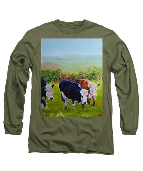 Cows And English Landscape Long Sleeve T-Shirt