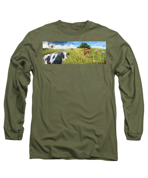Cows In Field, Ver 2 Long Sleeve T-Shirt