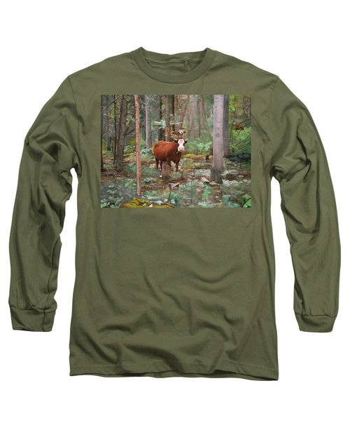 Long Sleeve T-Shirt featuring the painting Cows In The Woods by Joshua Martin