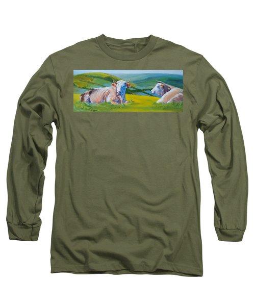 Cows Lying Down In Devon Hills Long Sleeve T-Shirt