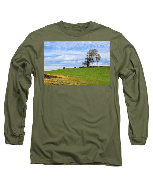 Cows On A Spring Hill Long Sleeve T-Shirt by James Eddy