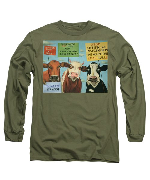 Long Sleeve T-Shirt featuring the painting Cows On Strike by Leah Saulnier The Painting Maniac