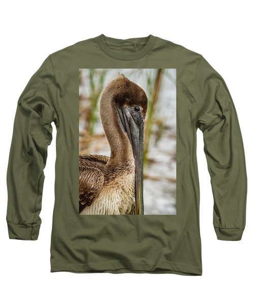 Long Sleeve T-Shirt featuring the photograph Coy Pelican by Jean Noren