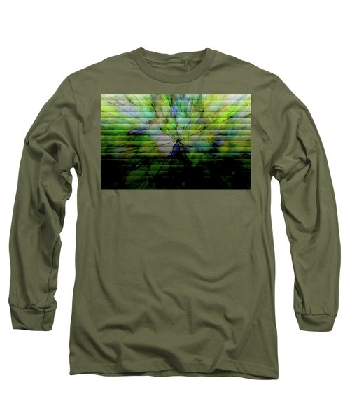 Cracked Abstract Green Long Sleeve T-Shirt by Carol Crisafi