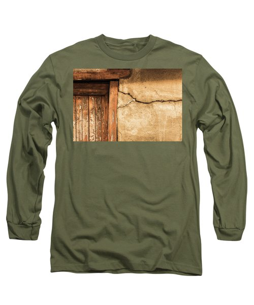 Cracked Lime Stone Wall And Detail Of An Old Wooden Door Long Sleeve T-Shirt by Semmick Photo