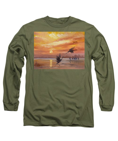 Cranes - Golden Sunset Long Sleeve T-Shirt by Irek Szelag