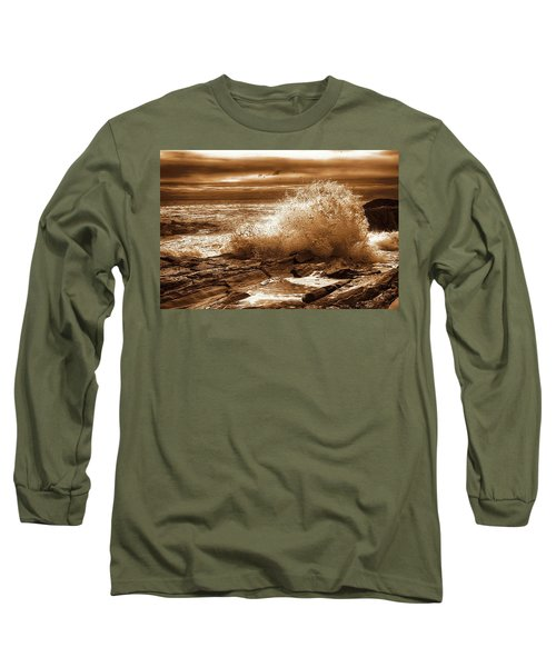 Crashing Wave Hdr Golden Glow Long Sleeve T-Shirt by Sherman Perry