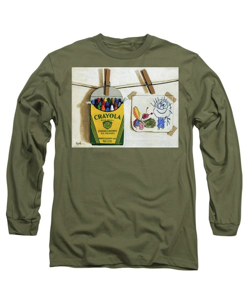 Long Sleeve T-Shirt featuring the painting Crayola Crayons And Drawing Realistic Still Life Painting by Linda Apple