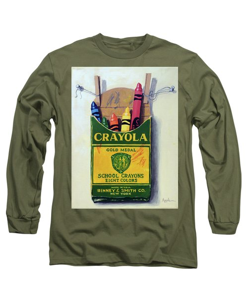 Long Sleeve T-Shirt featuring the painting Crayola Crayons Painting by Linda Apple