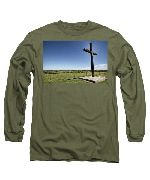 Cross On The Hill V3 Long Sleeve T-Shirt by Douglas Barnard