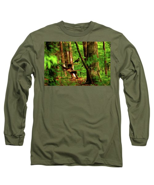 Crow On A Table Long Sleeve T-Shirt by Andy Lawless