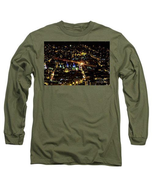 Long Sleeve T-Shirt featuring the photograph Cuenca's Historic District At Night by Al Bourassa
