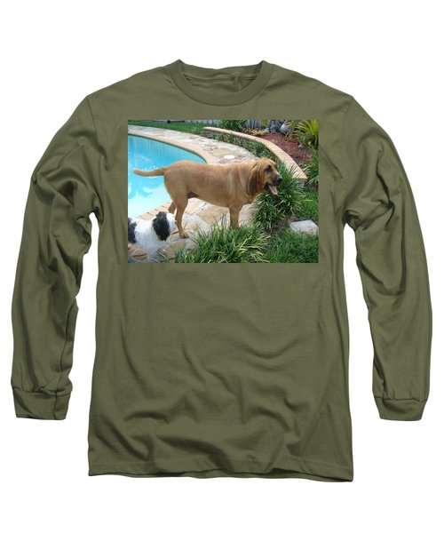 Cujo And Lucky By The Pool Long Sleeve T-Shirt by Val Oconnor