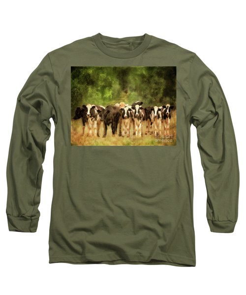 Long Sleeve T-Shirt featuring the digital art Curious Cows by Lois Bryan