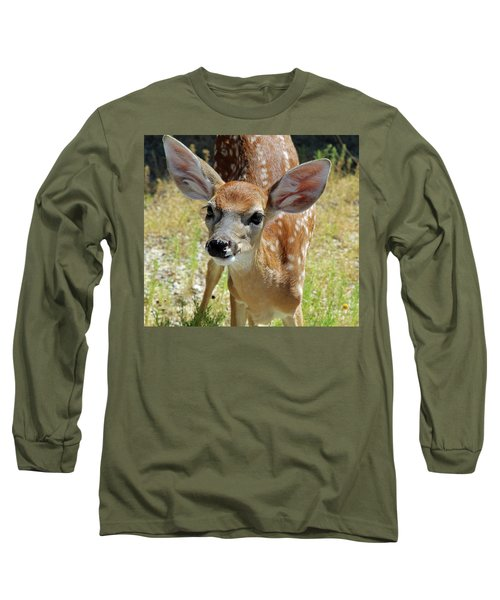 Curious Fawn Long Sleeve T-Shirt by Inspirational Photo Creations Audrey Woods