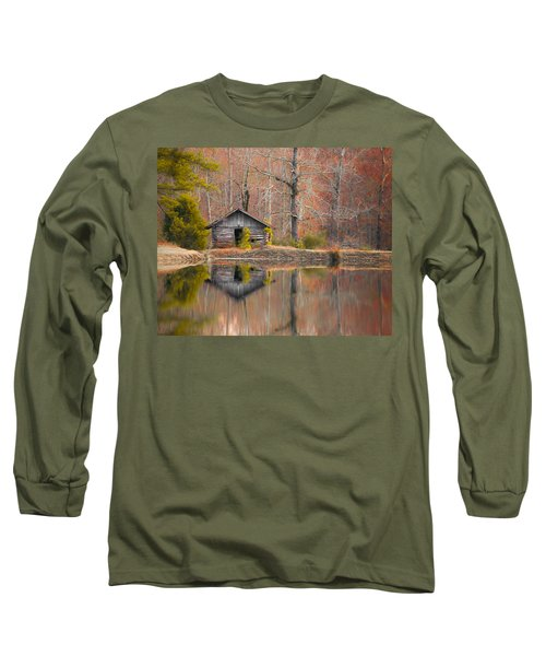 Custom Crop - Cabin By The Lake Long Sleeve T-Shirt by Shelby  Young