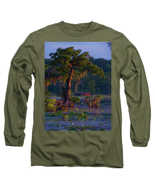 Cypress In The Sunset Long Sleeve T-Shirt by Kimo Fernandez