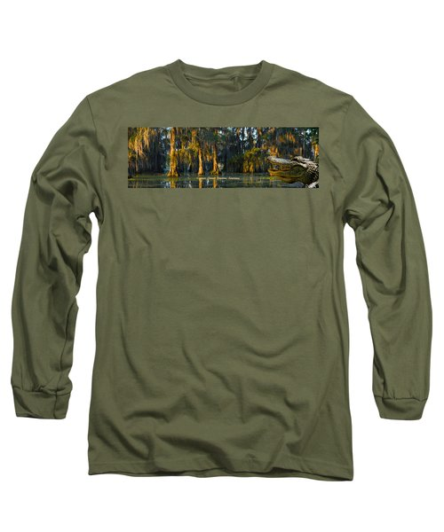 Cypress Island Gator Long Sleeve T-Shirt by Kimo Fernandez