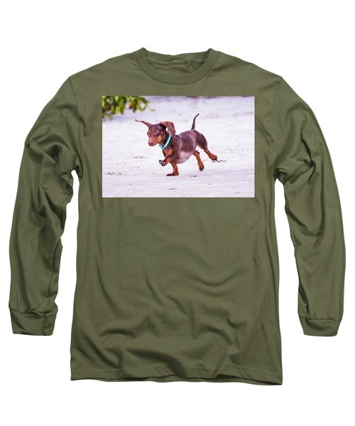 Dachshund On Beach Long Sleeve T-Shirt