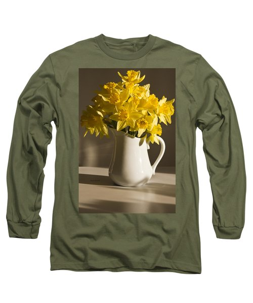 Daffodil Filled Jug Long Sleeve T-Shirt by Sandra Foster