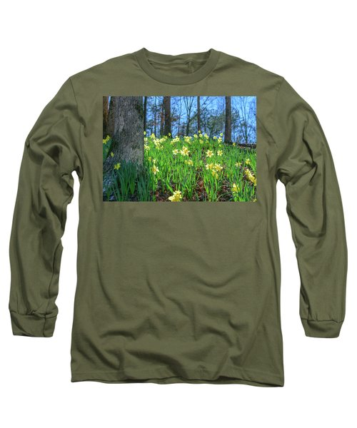 Daffodils On Hillside 2 Long Sleeve T-Shirt