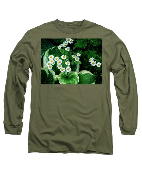 Daisies And Hosta In Colour Long Sleeve T-Shirt