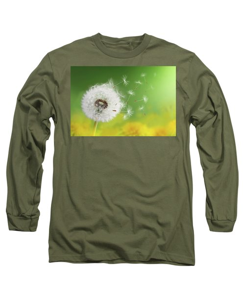 Long Sleeve T-Shirt featuring the photograph Dandelion Clock In Morning by Bess Hamiti