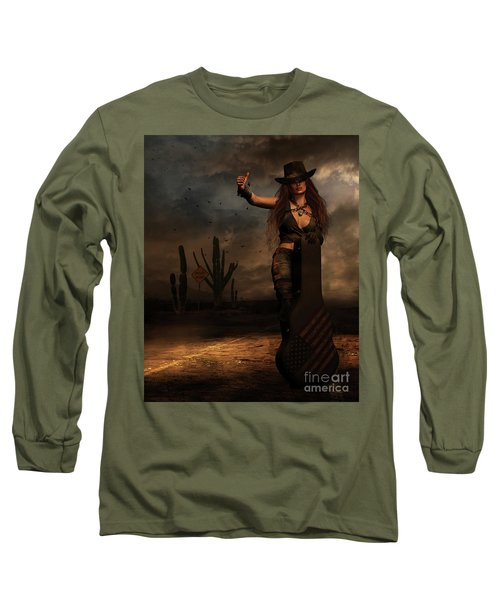 Dark Desert Highway Long Sleeve T-Shirt by Shanina Conway