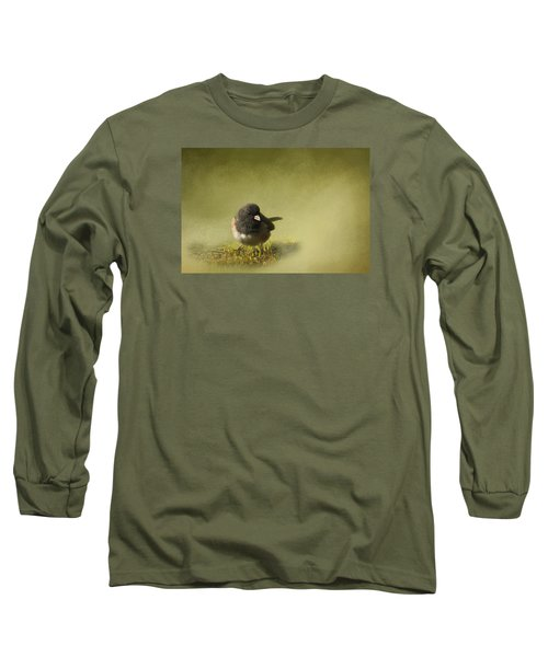 Long Sleeve T-Shirt featuring the photograph Dark-eyed Junko by Inge Riis McDonald