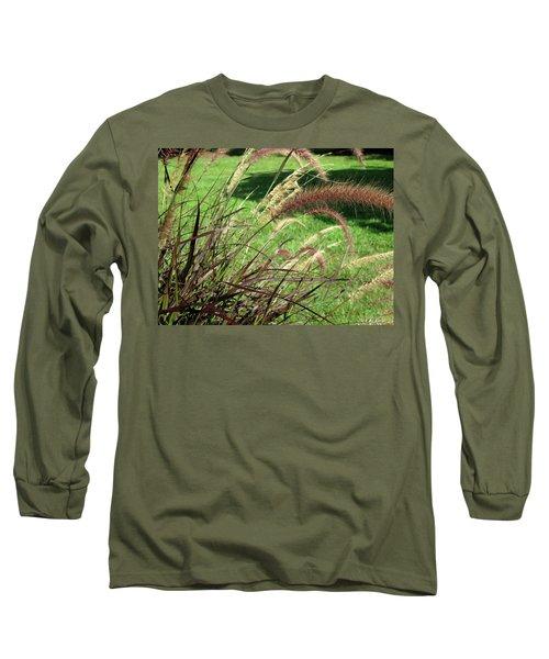 Dark Feather Grass Long Sleeve T-Shirt by Michele Wilson