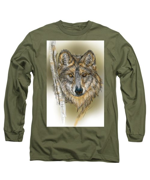 Dark Wolf With Birch Long Sleeve T-Shirt