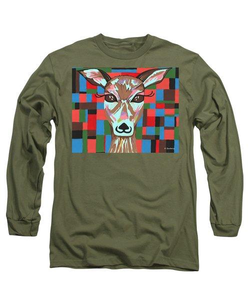 Long Sleeve T-Shirt featuring the painting Darling Deer by Kathleen Sartoris