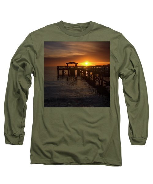 Davis Bay Pier Sunset 2 Long Sleeve T-Shirt