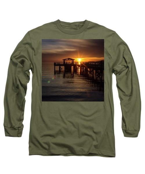 Davis Bay Pier Sunset Long Sleeve T-Shirt