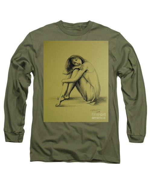Long Sleeve T-Shirt featuring the drawing Day Dreaming by Elena Oleniuc