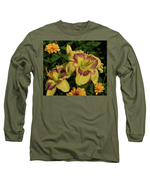 Long Sleeve T-Shirt featuring the photograph Daylilies And Zinnia by Sandy Keeton