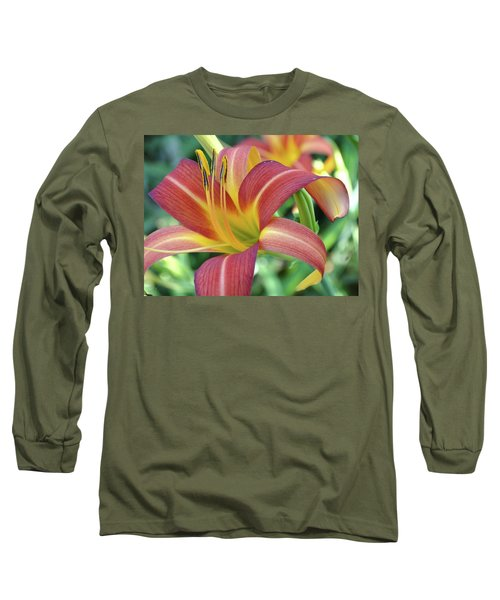 Daylilies At Daybreak Long Sleeve T-Shirt by Rebecca Overton