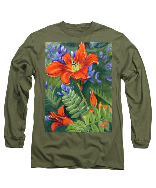 Long Sleeve T-Shirt featuring the painting Daylilies by Renate Nadi Wesley