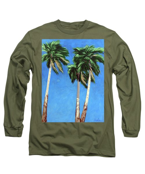 Long Sleeve T-Shirt featuring the painting Daytime Moon In Palm Springs by Linda Apple