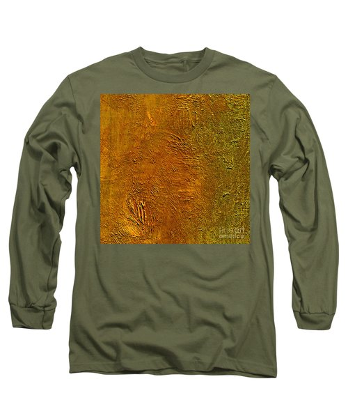 Long Sleeve T-Shirt featuring the mixed media Deep Gold by Michael Rock