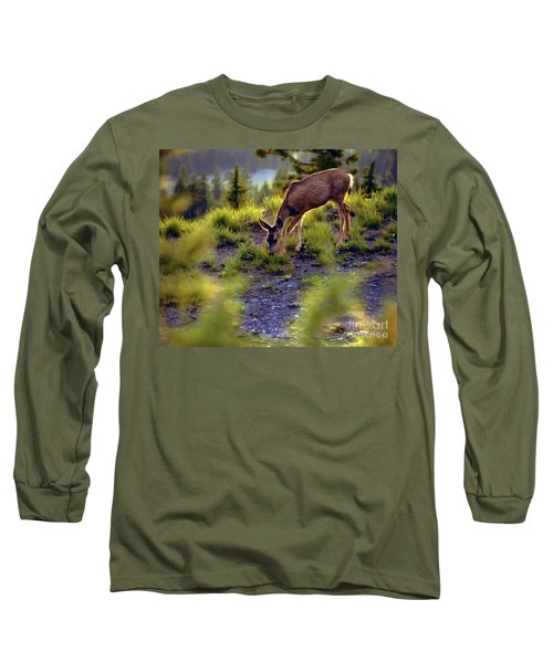 Deer At Crater Lake, Oregon Long Sleeve T-Shirt by John A Rodriguez