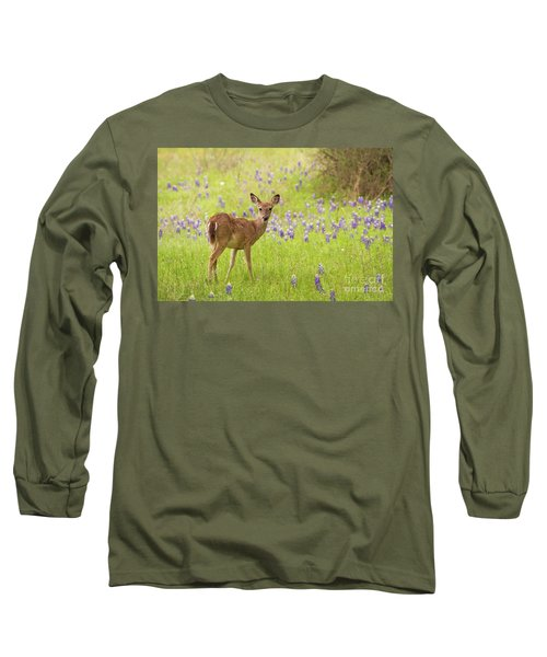 Deer In The Bluebonnets Long Sleeve T-Shirt